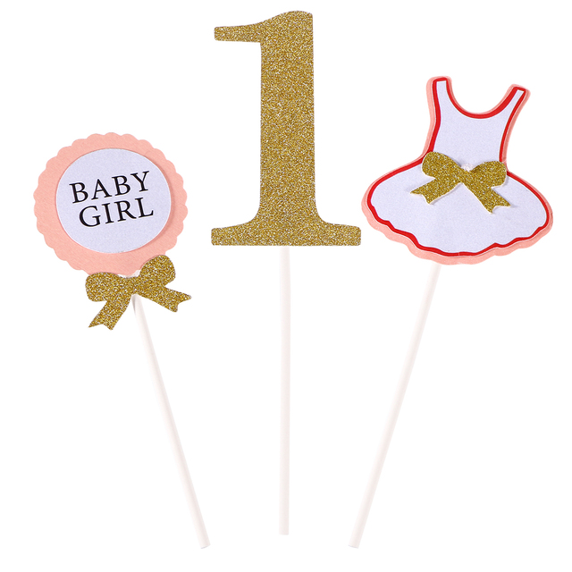 3 Pcs Cake Topper Flag Baby Boy Girl 1 Year Old Age Happy Birthday