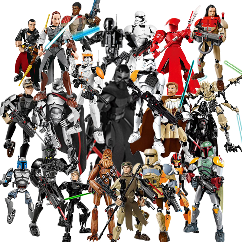 Star Series Space War 8 Last Jedi Boba Fett Figures Kylo Ren Phasma Chewbacca Royal Guard Rey Darth Vader toys LegoINFlys blocks star wars figures jedi chewbacca han solo darth vader leia legoing jango fett obi wan models & building toys blocks for children