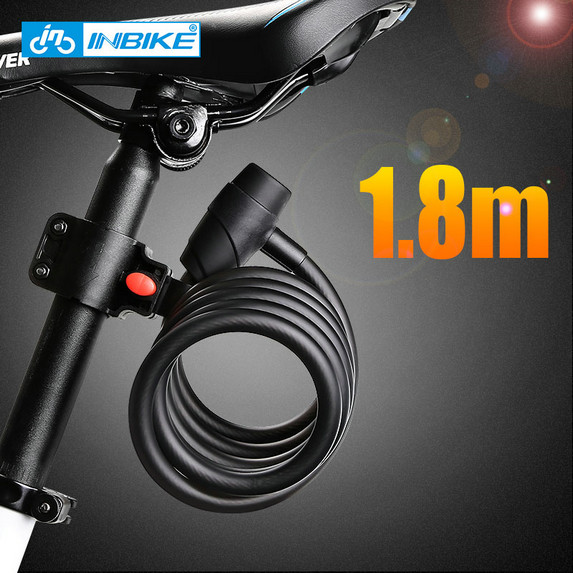 INBIKE Bicycle <font><b>Lock</b></font> 1.8m Bike Cable <font><b>Lock</b></font> Anti-theft <font><b>Lock</b></font> with 3 Keys Bicycle Accessories llaveros bisiklet cadeado chave D16719