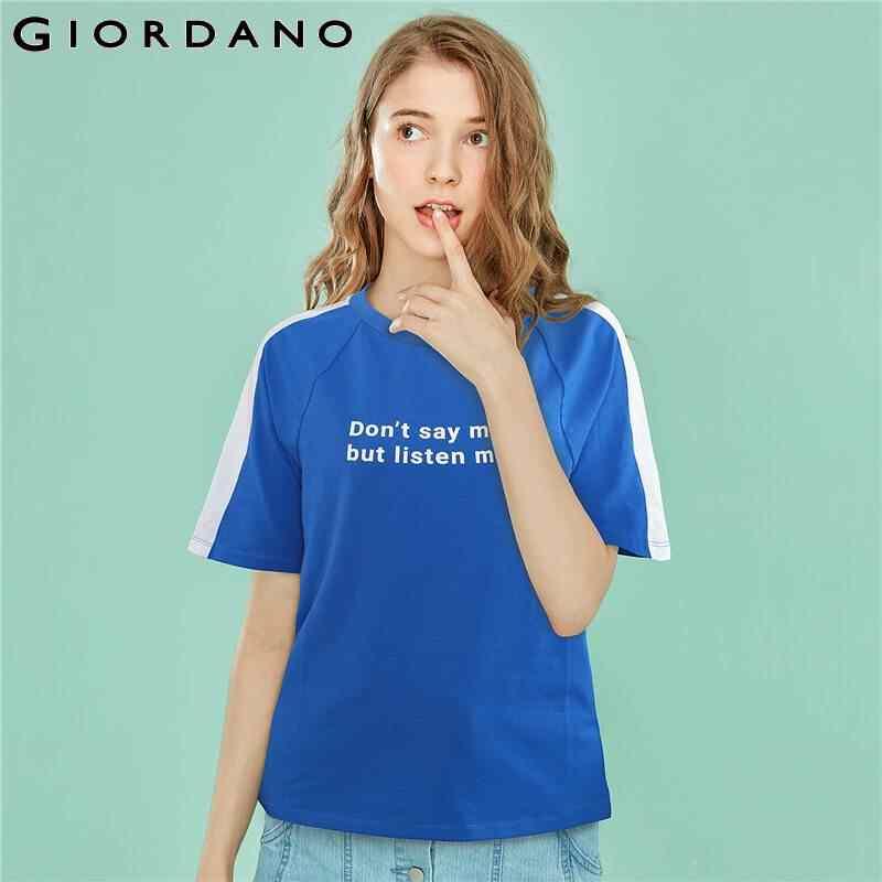 Kính mắt Giordano Nữ Mùa Hè TEE Tương Phản Màu Sắc Thiết Kế cổ Tròn-Áo Phông Nữ In Chữ Thời Trang Camisas Mujer