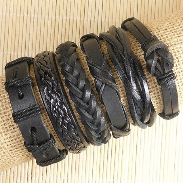 6pcs Handmade Punk Charms Men Braclet For Women Ethnic Tribal Wrap Black Bracelet & Bangle Femme Male Wristband Wrap Jewelry