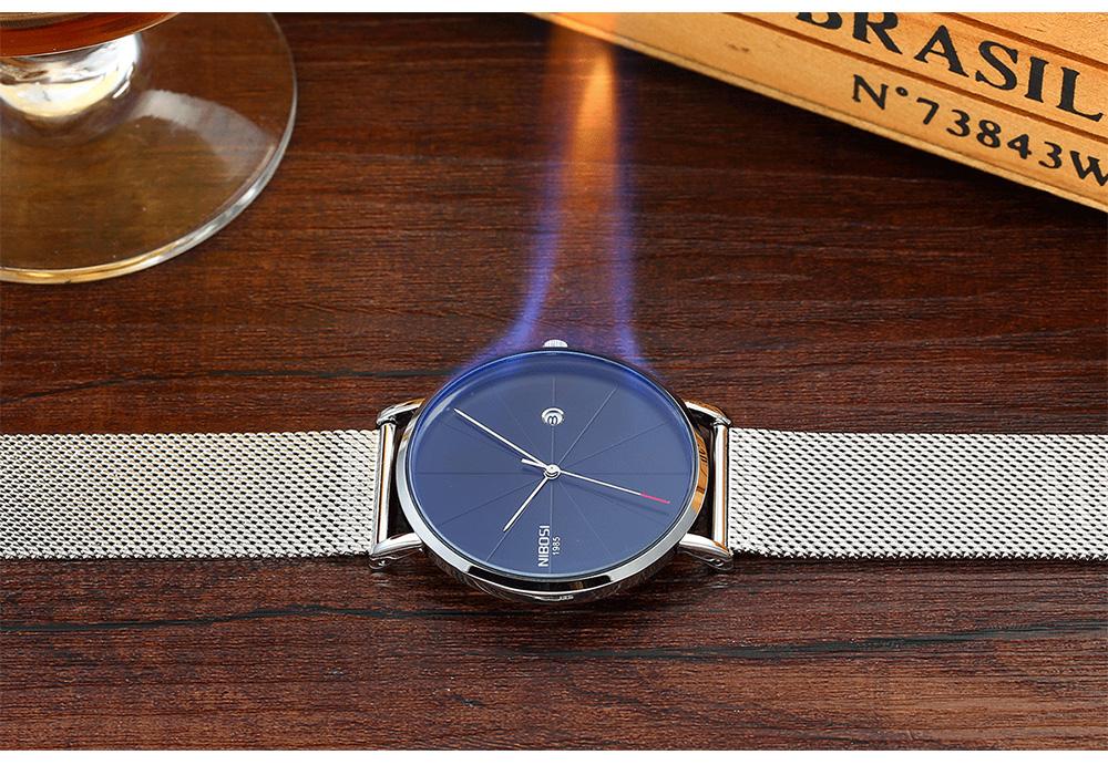NIBOSI watch men black quartz wristwatches stainless steel mesh brand  watches men ultra thin quartz relogio masculino dourado (5)