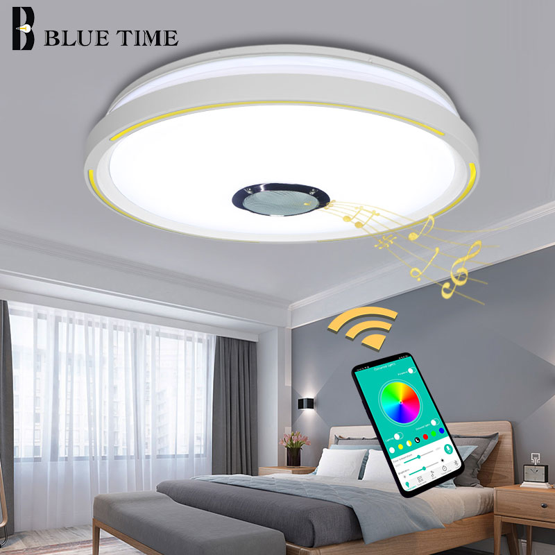 White Finished Home Musical LED Chandeliers For Kitchen Bedroom Living Room Modern Smartphone APP Controlling LED