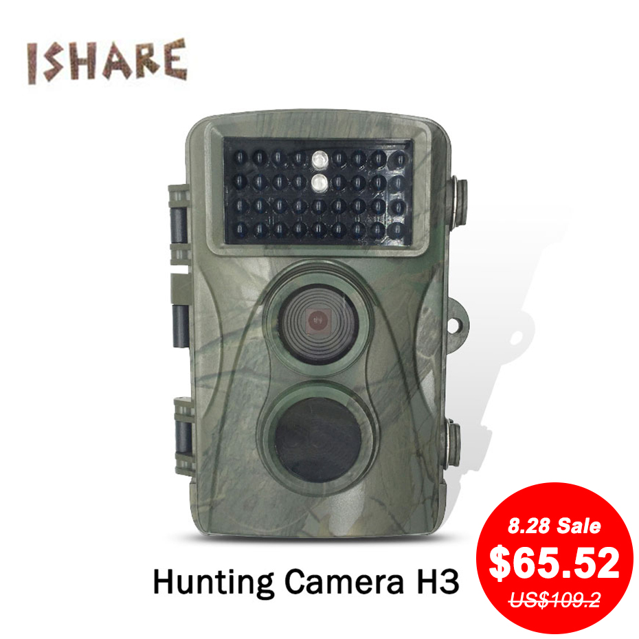 ISHARE H3 720P 34 infrared night vision lights 70degree shooting angle speed 0.6 seconds digital point shoot cameras for hunting