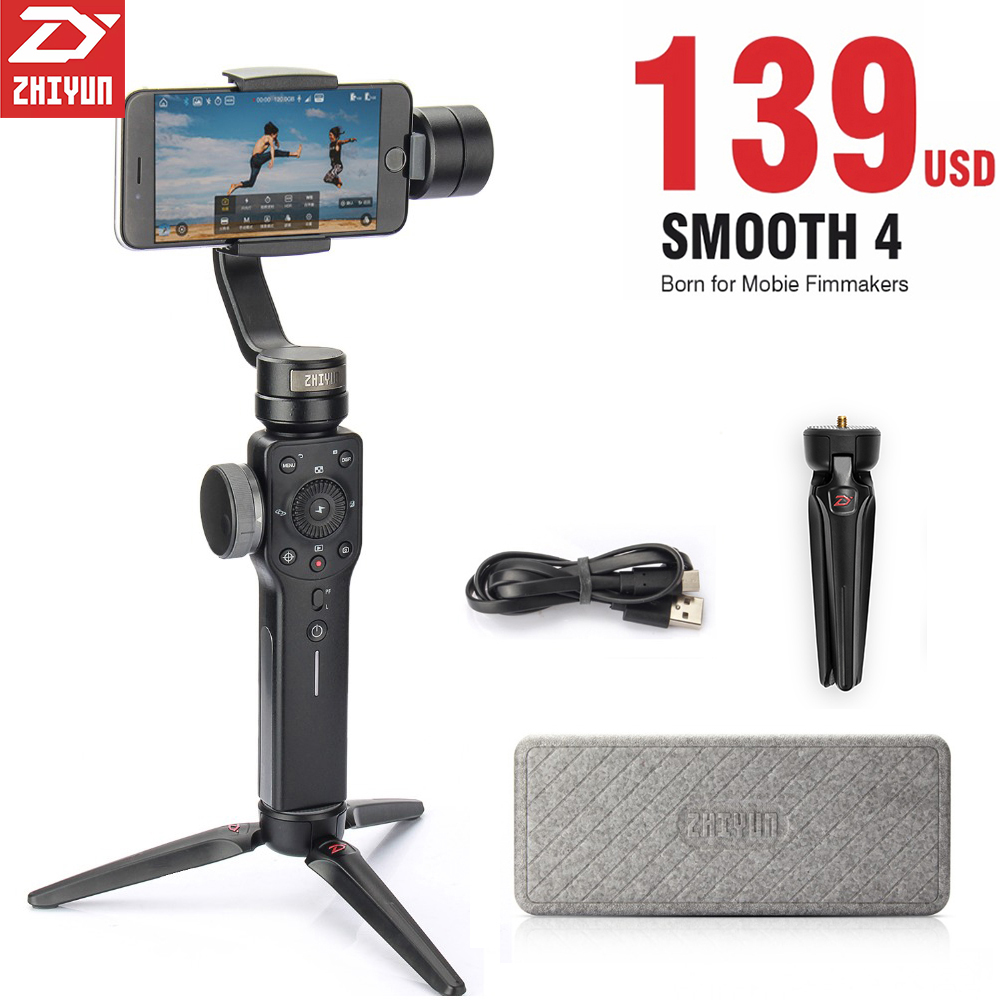 Zhiyun Smooth 4 3 Axis Smartphone Gimbal Stabilizer Steadicam W Microphone Tripod For IPhone Samsung Gopro