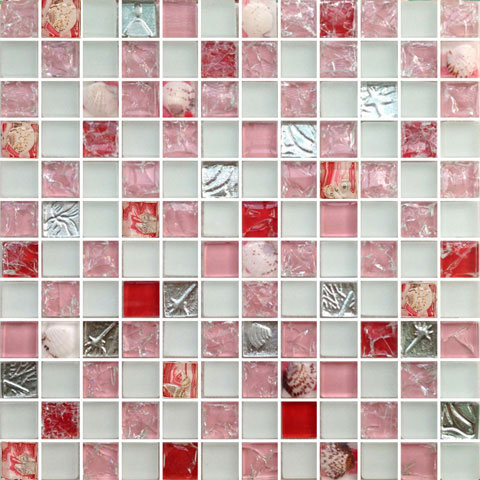 pink sea shell mosaic crystal glass ceramic tile living room tv