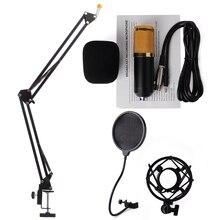 4 in1 Zestaw BM-800 Przetwarzania Dźwięku Mic moduł Nagrywania Dźwięku Pojemnościowy Ekran Przewodowy Mikrofon + Wiatr Pop Filtr + Stojak TH136