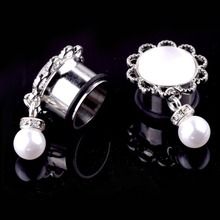 1 PC Vintage 6-24mm Simulated Pearl Pendant Ear Plugs Stainless Steel Expansion Flesh Tunnels Body Piercing Jewelry