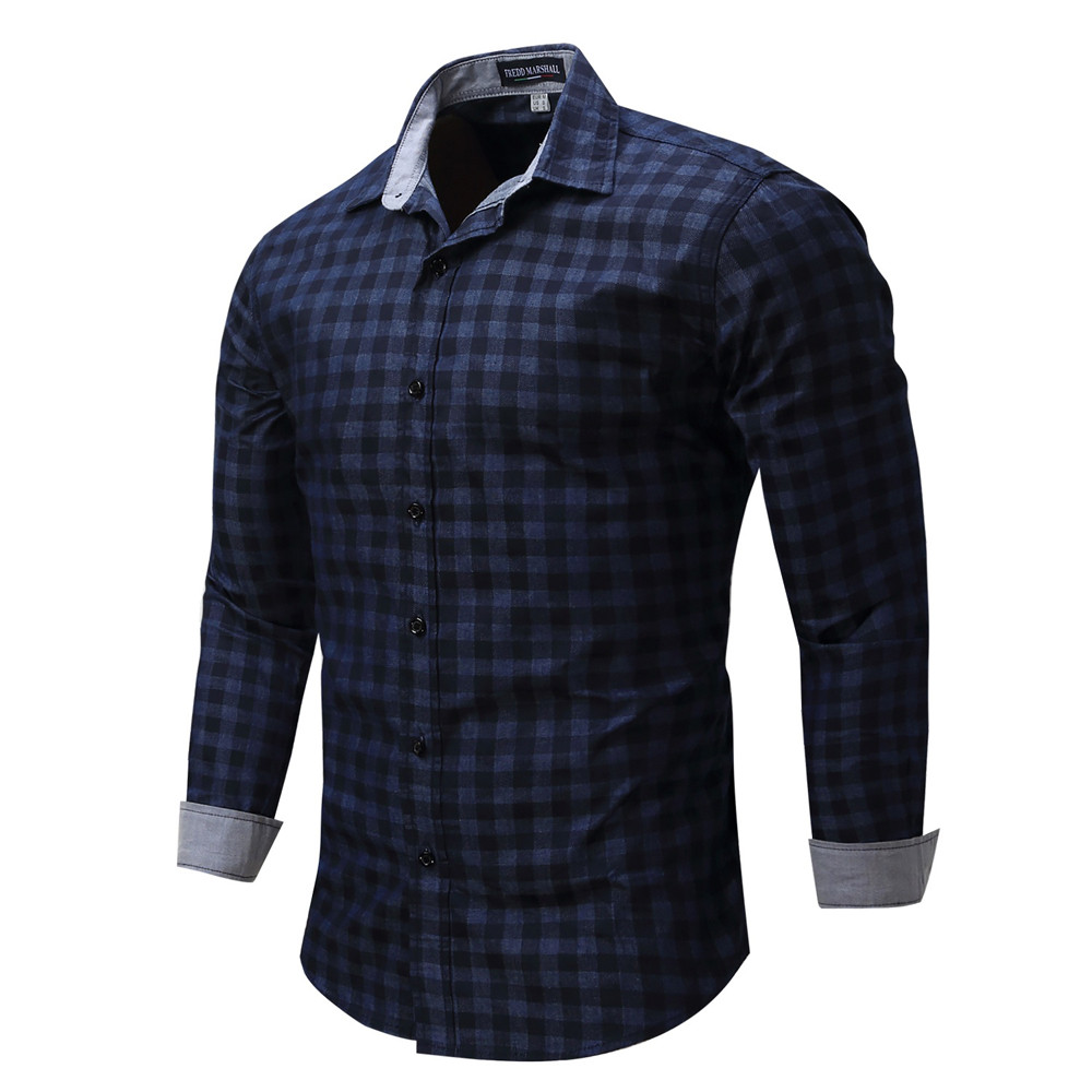 FeiTong Autumn Lattice Denim Men Shirts Slim Fit Men Long Sleeve Shirt Men Plaid Cotton Casual Men Shirt Social Plus Size M-3XL ...