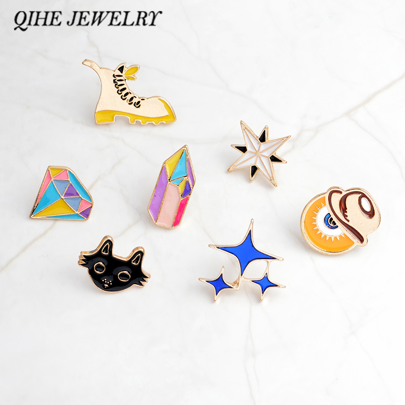 QIHE JEWELRY Pins and brooches Star shoe pins Badges Pin back for bags backpack hats jeans Boys girls jewelry