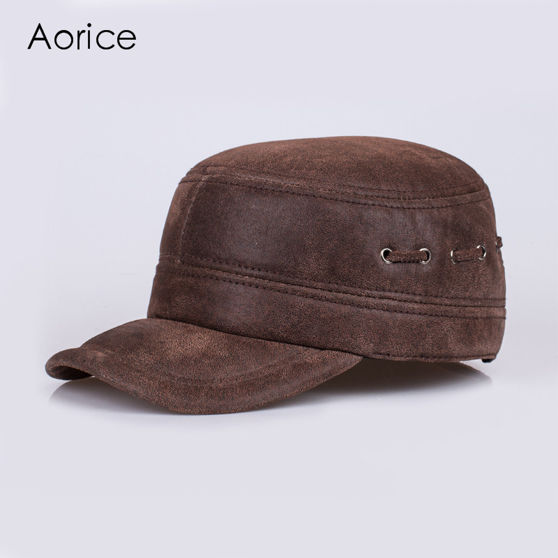 Aorice Genuine Leather Man's Baseball Cap Hat CBD High Quality Men's Adult Solid Adjustable Outdoor Keep Warm Cotton Hat HL086 adjustable outdoor keep warm earmuff button baseball cap