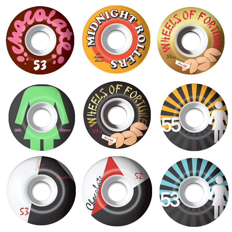 GIRL Chocolate Skateboard Wheels 4PCS 52/53/54mm For Double Rocker Skate board Trucks Wheels Ruedas Patines Rodas Skate