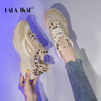 LALA IKAI Female Soft Leopard shoe side Sneakers Lace-Up  Leisure  Autumn Spring Mesh Vulcanize Shoes  014A3840-4