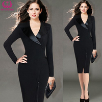 MYCOURSE Autumn Fashion Women Dress Black Suit Ladies Wear Leather Notched Collar Sheath Dress Bodycon Pencil