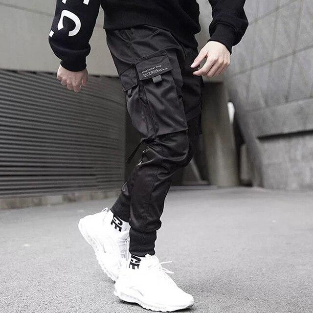 Men Ribbons Color Block Black Pocket Cargo Pants 2019 Casual Fashion Harem Joggers Harajuku Sweatpant Hip Hop Trousers LA8P36 1