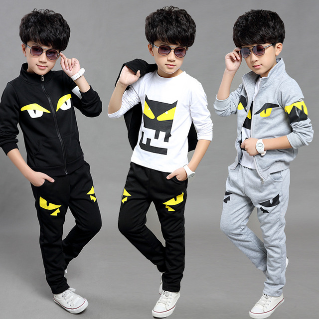 Children Clothing Sports Suit For Boys And Girls Hooded Outwears Long Sleeve Boys Clothing 3PC/Set Casual Tracksuit