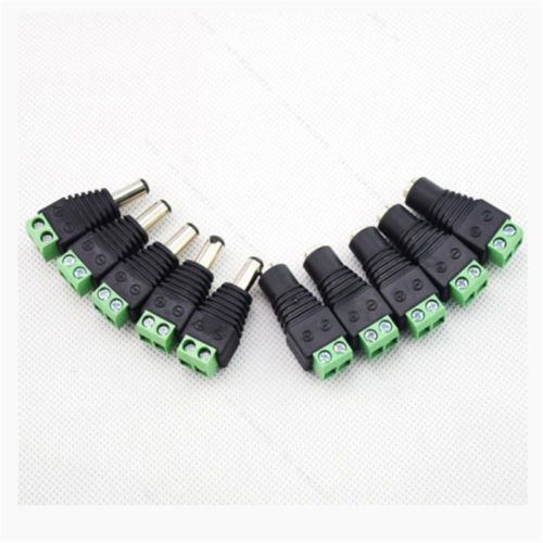 10X Male Female 2.1x5.5mm DC Power Plug Jack Adapter Wire Connector For CCTV JG