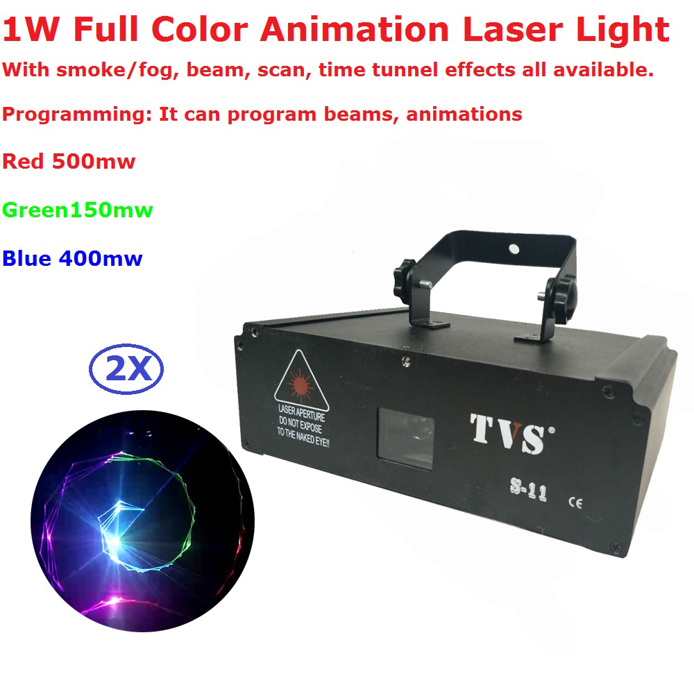 2Pcs/Lot 1W RGB Full Color Animation Laser Lights With IR Remote Control Professional Stage Dj Disco Laser Lighting Equipments