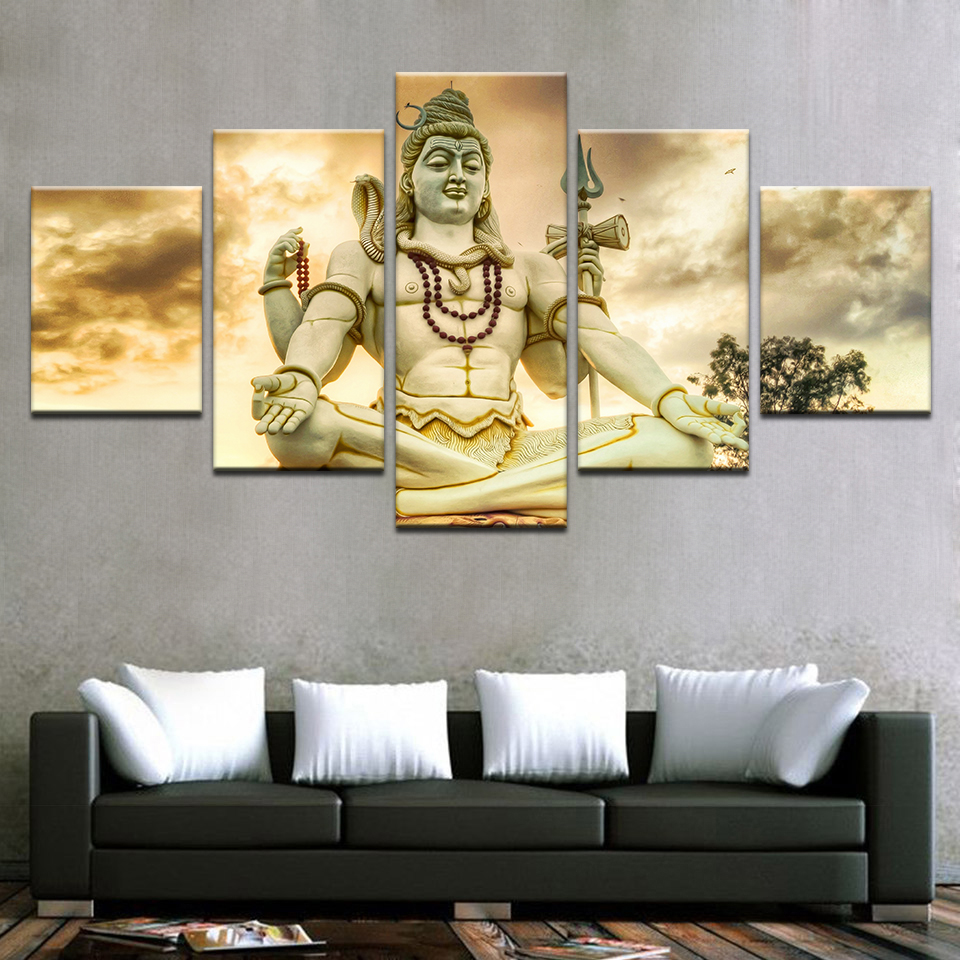 Modular HD Printed Canvas Poster Framework 5 Panel India God Lord Shiva Art Painting Home Decoration Living Room Wall Pictures