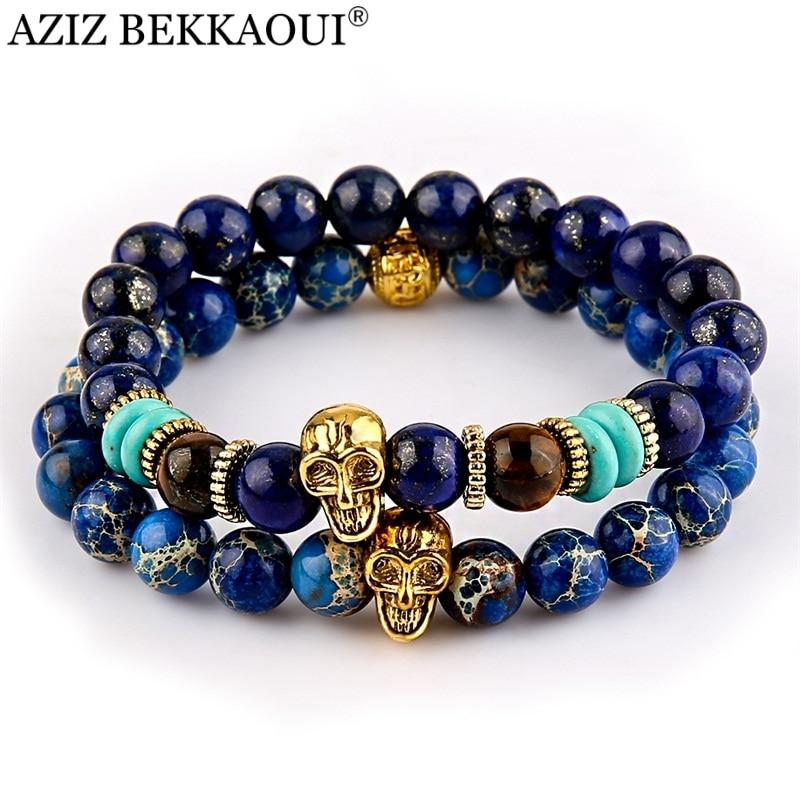 AZIZ New Design Yoga Jewelry 8mm Blue Sea Sediment Stone Bead with Bronze Gold Color Skull Bead Bracelets For Women Men
