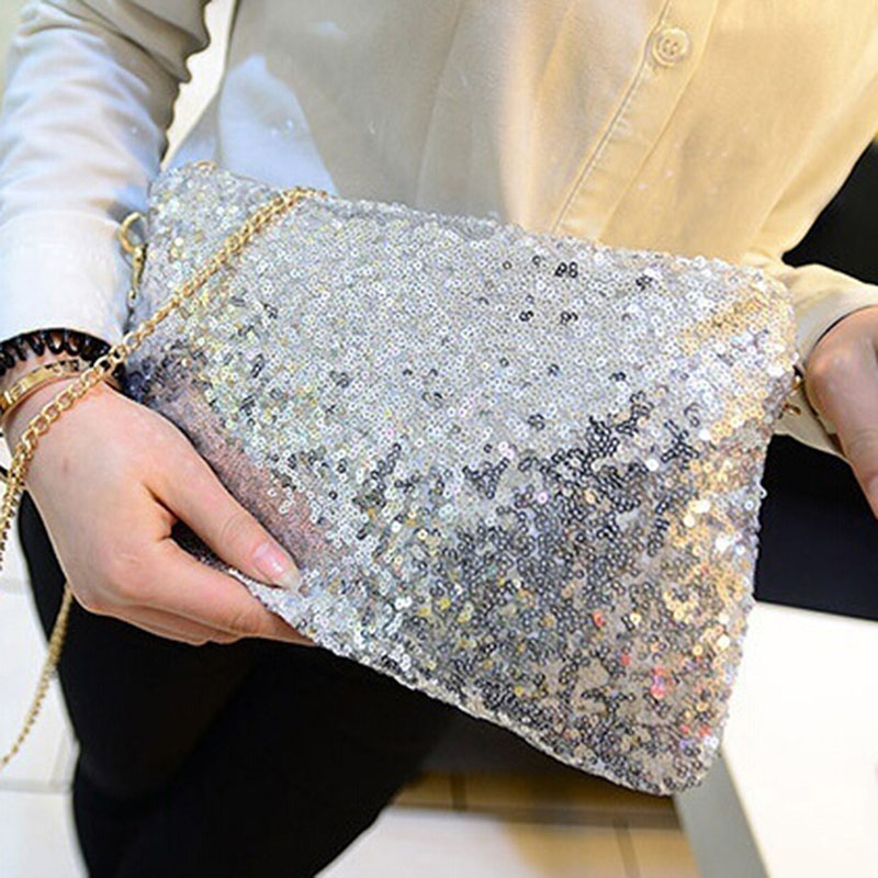 Women Ladies Glitter Sequins Handbag Sparkling Party Evening Envelope Clutch Bag Wallet Tote Purse Black Gold Silver