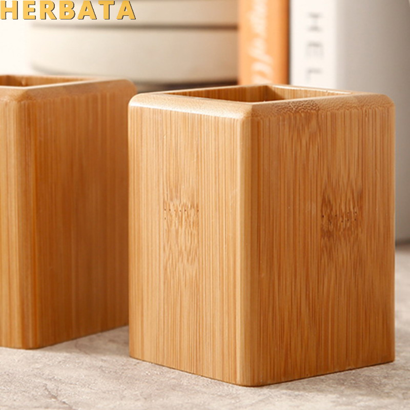 Multi-function Creative Bambo & Wood Made Desk Stationery Organizer  Pencil Holder Storage Box Case Square Container Pen Holder