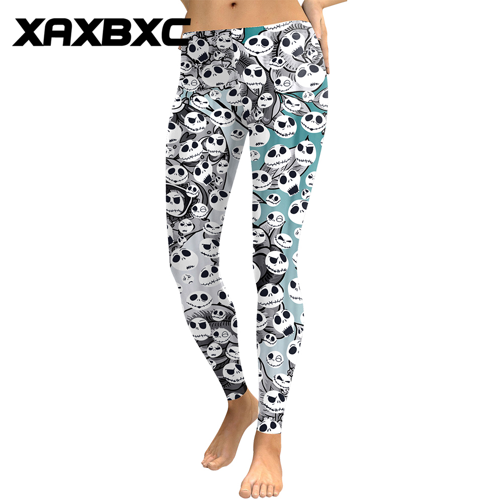 1741 Sexy Pencil Pants Halloween Jack Skellington Nightmare Before Christmas Prints Slim Fitness Workout Push Up Women   Leggings