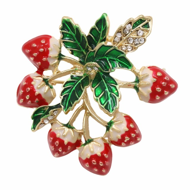 baiduqiandu Factory Direct Sale Enamel Strawberry Bouquet Brooch Pins For Women