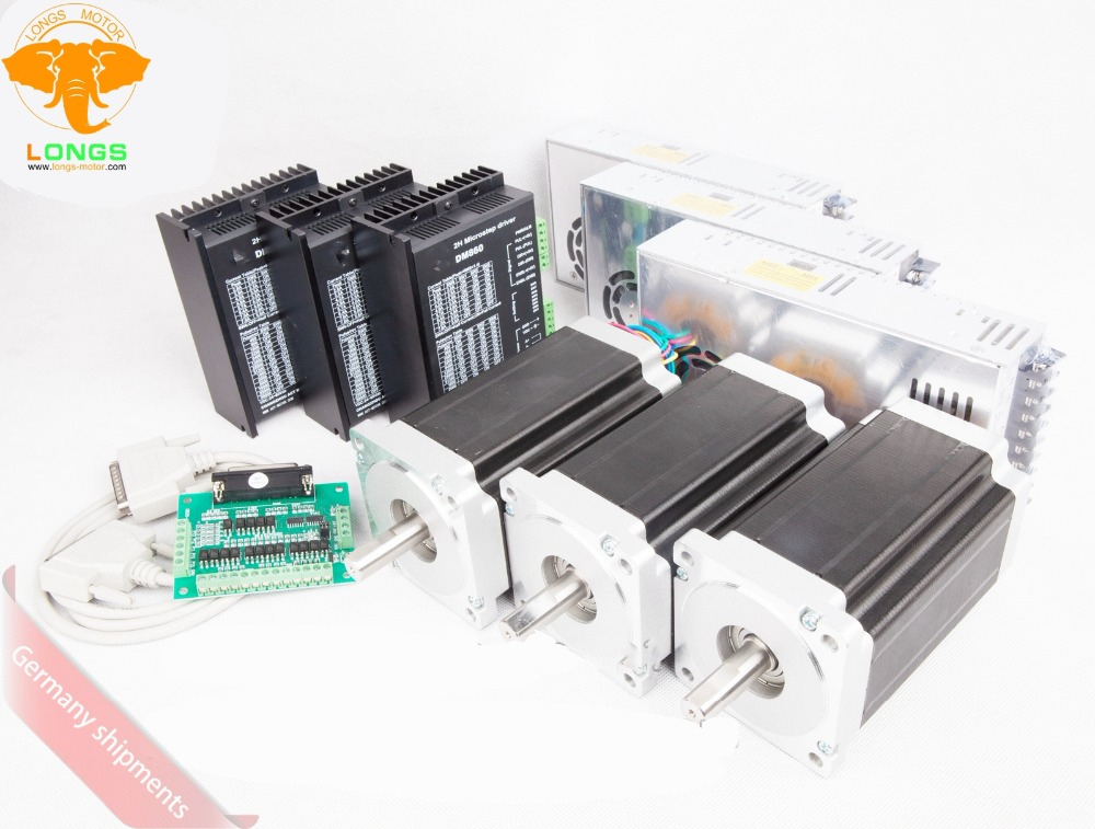 EU free shipping Stepper Motor 3Axis Nema 34 1700oz in 151mm 6A 2PHASE Stepper driver DM860A