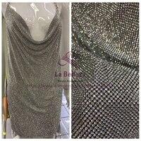 La Belleza Silver /gold/AB color crystals fabric 3mm stones on botton 45X120cm by piece SN171004