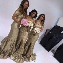 Gold Sequins Long Mermaid Bridesmaid Dress 2017 Short Sleeves Off The Shoulder Sexy Side Split vestido