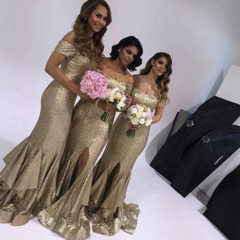 Gold Sequins Long Mermaid font b Bridesmaid b font font b Dress b font 2017 Short