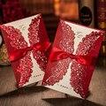 (50 unids/lote) Vintage personalizado Insertar tarjeta de boda roja corte láser chino compromiso boda fiesta tarjetas de invitación XQ010