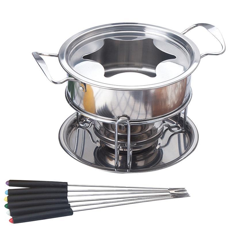 New 10-Piece Set Multifunctional Stainless Steel Ice Cream Chocolate Cheese Hot Pot Melting Pot Fondue Set Kitchen Accessories