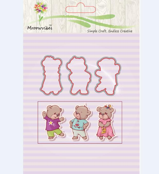 Bear Wearing A Beautiful Dress Transparent Clear Stamps Metal Cutting Dies