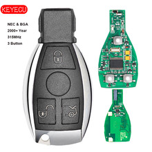 Keyecu 스마트 키 3 버튼 315 mhz/433 mhz 메르세데스 벤츠 자동 원격 키 지원 nec 및 bga 2000 + year