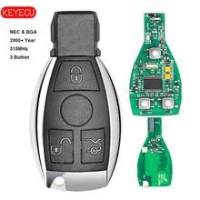 Keyecu Smart Key 3 Boutons 315 MHz 433 MHz pour Mercedes Benz Auto À Distance Clé Soutien NEC Et BGA 2000 + année
