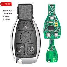 Keyecu Smart Key 3 Knoppen 315 mhz/433 mhz voor Mercedes Benz Auto Remote Key Ondersteuning NEC En BGA 2000 + Jaar