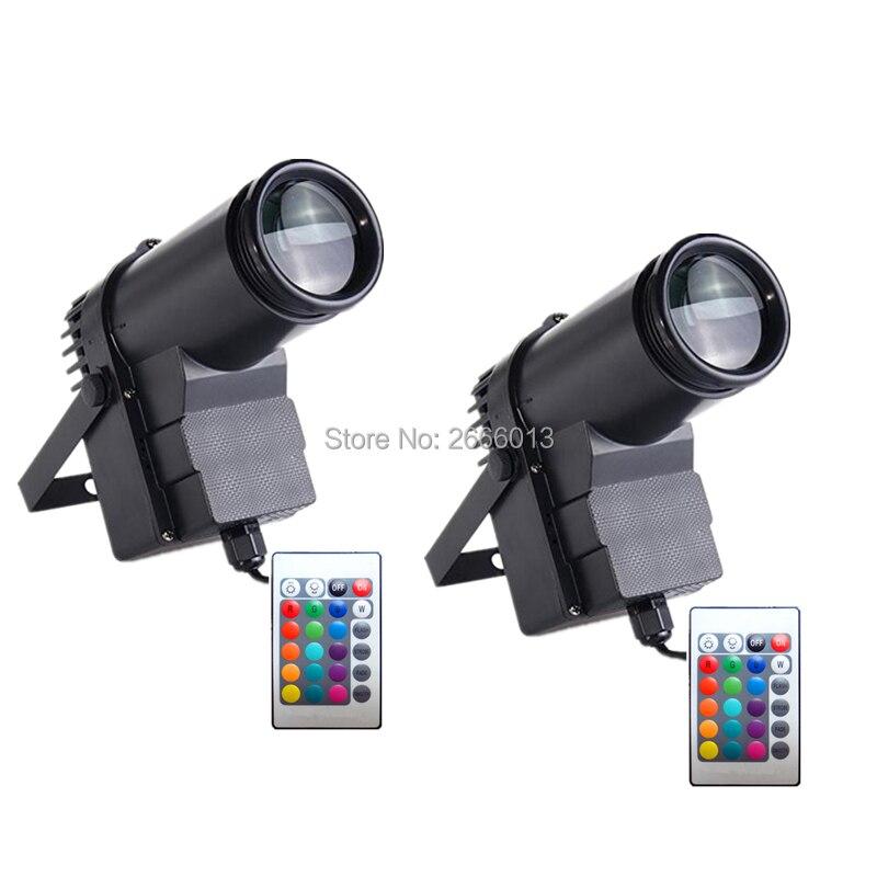 2pcs lot Wireless Remote Control 10W RGB LED Beam Pinspot Light DJ Mirror Ball Spot Lighting