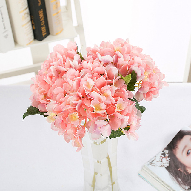 10pcslot Real Touch Gorgeous Silk Pink Hydrangea For Home Dinner