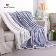 Slowdream Gray White Elegant Flannel Blanket Comfortable Throws Coral Fleece Bedspread For Sofa Bed Home Cover Quilts