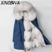 Для женщин зимние природных роскошный большой лисий мех с капюшоном лайнер длинные толстые куртки женские джинсовые свободные негабаритны