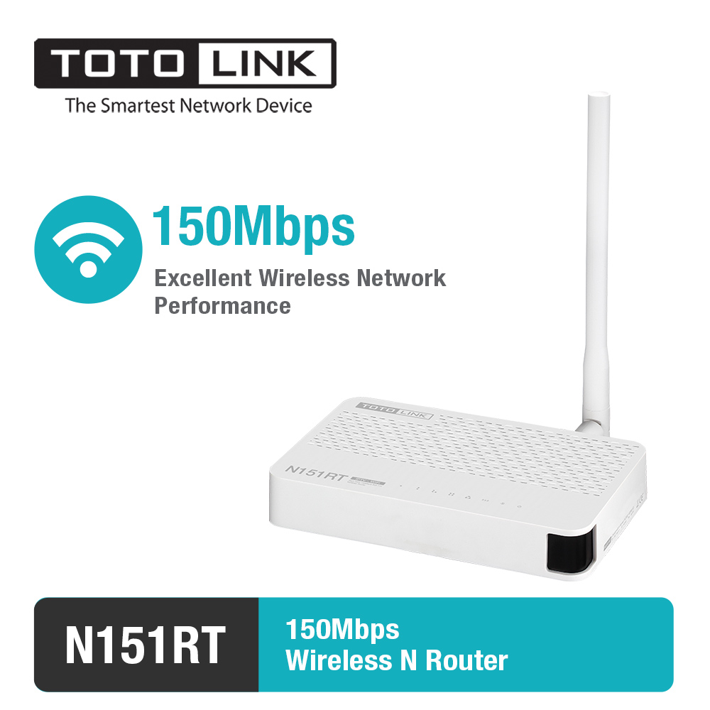 TOTOLINK N151RT-150Mbps Wireless N Router with One high gain detachable antennas support DHCP/PPPoE/Static IP
