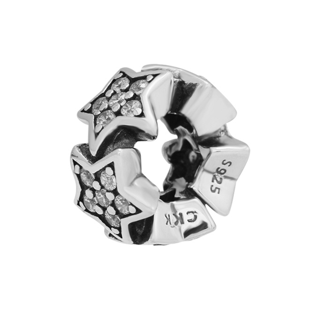 CKK Charm Beads 100 Genuine 925 Sterling Silver Pentagonal Beads Charm Suitable For Original Pandora Charm Bracelet in Beads from Jewelry Accessories