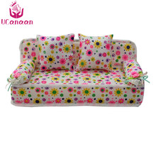 UCanaan Lovely Miniature Doll house Furniture Flower Print Sofa Couch With 2 Cushions For 30cm Dolls Flower 8.50cm Toys(China)