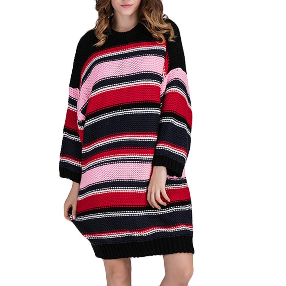 Striped Sweater Dresses for Women Autumn Winter 2017 One Size Batwing Sleeve O Neck Loose Soft Warm Casual Dress Pull Femme