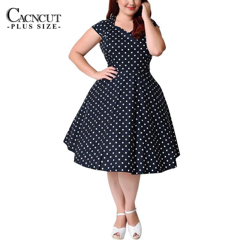 2018 New Big Swing Plus Size Dress Elegant Empire Waist Polka Dot ...