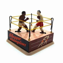 Vintage Wind Up Tin Toys Boxer&Boxing Ring Children Clockwork Spring Locomotive Classic Toys Retro Reminiscence Kids/Adult Gift