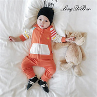 High quality 2018 autumn boy 0 2 years old girl cotton suit children clothes baby marine two piece baby cardigan coat + pants