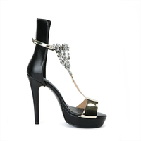 Bling Bling Rhinestone Chains T Strap Sandals Mirror Leather Patchwork Platform High Heels Gladiator Peep toe Ladies Sandals
